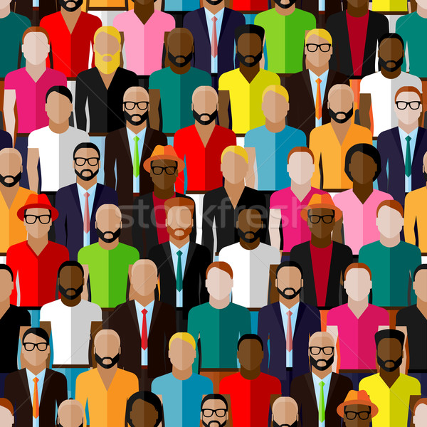 vector seamless pattern with a large group of guys and men. flat  illustration of male community. Stock photo © maximmmmum