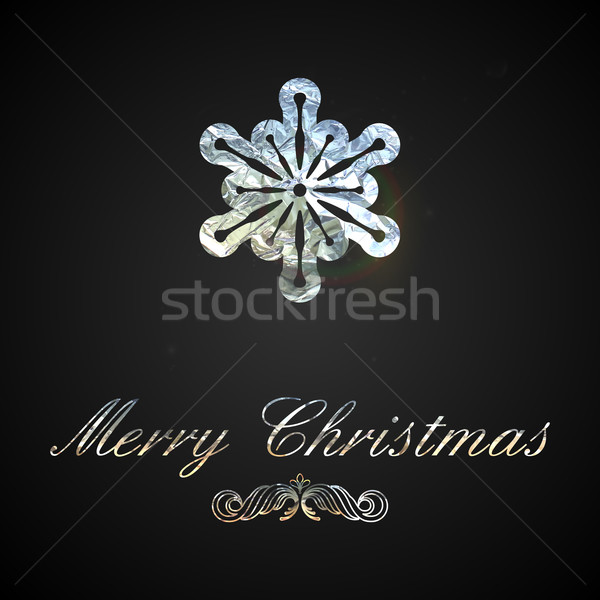 Holiday vector illustration of a silver foil snowflake. Merry Ch Stock photo © maximmmmum