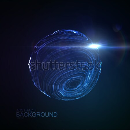 3D illuminated distorted sphere Stock photo © maximmmmum