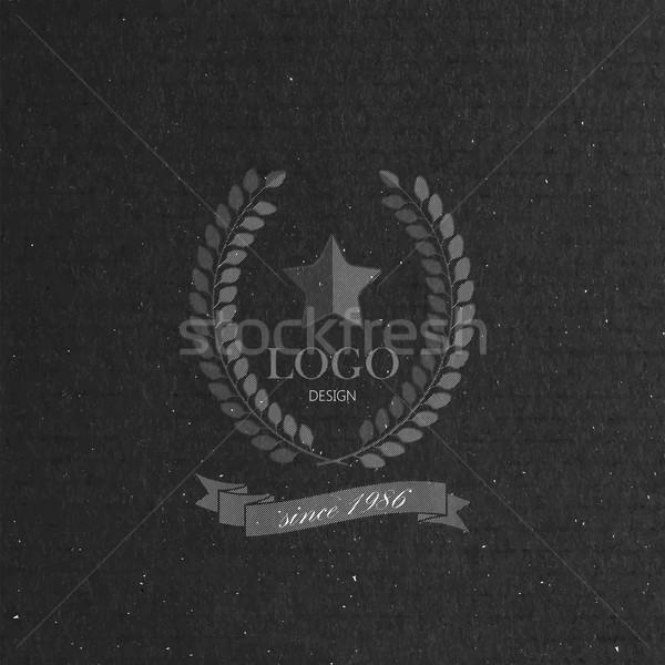 Gravur Lorbeer Kranz Band Sterne Stil Stock foto © maximmmmum