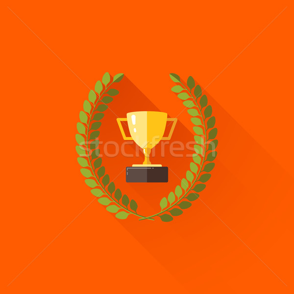 vector illustration with laurel wreath and champions cup in flat design with long shadow  Stock photo © maximmmmum