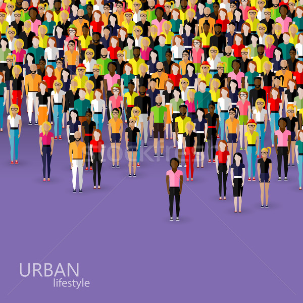 vector flat illustration of society members with a crowd of men and women. population. urban lifesty Stock photo © maximmmmum