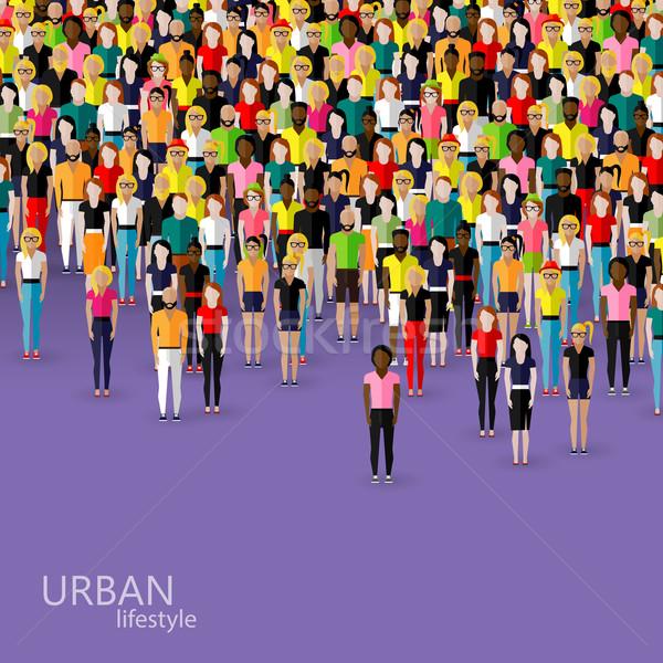Wektora ilustracja społeczeństwo tłum mężczyzn kobiet Zdjęcia stock © maximmmmum