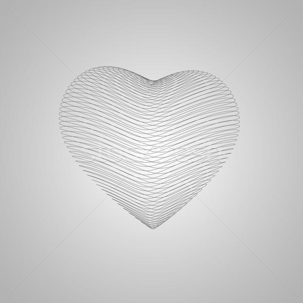 Foto d'archivio: 3D · a · forma · di · cuore · felice · san · valentino · cuore · wireframe