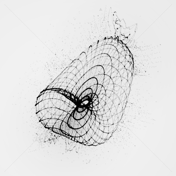 3D shape of particles array, wireframe and splashes Stock photo © maximmmmum