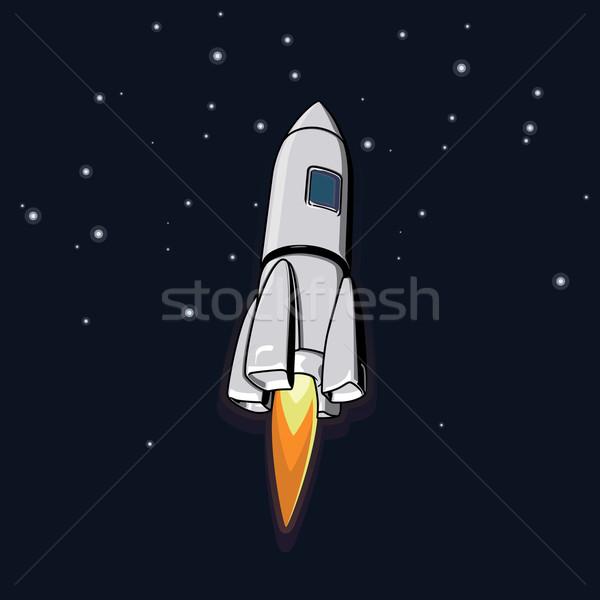 Vector espacio exterior ilustración cohete Cartoon vuelo Foto stock © maximmmmum