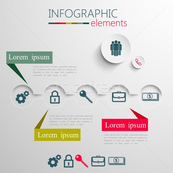 Stock fotó: Vektor · szett · absztrakt · 3D · papír · infografika