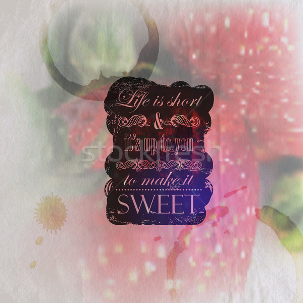 Quote typographical label on vintage wrinkled and faded paper background of ripe strawberries with c Stock photo © maximmmmum