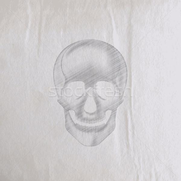 Ceruza emberi koponya öreg ráncos papír textúra Stock fotó © maximmmmum