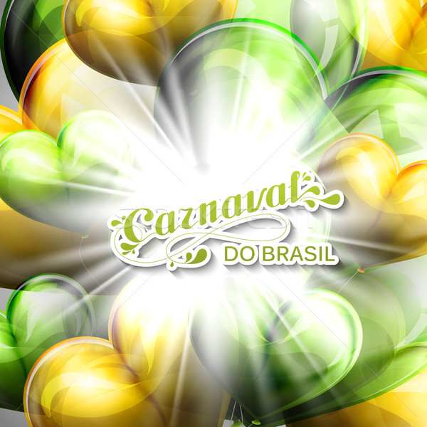 vector illustration of brazilian Carnival lettering label on the flying balloon hearts background wi Stock photo © maximmmmum