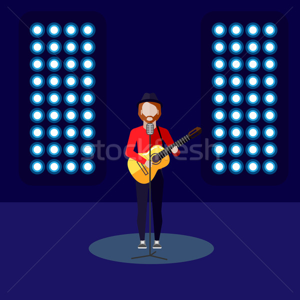 flat illustration of singer on stage. music performance Stock photo © maximmmmum