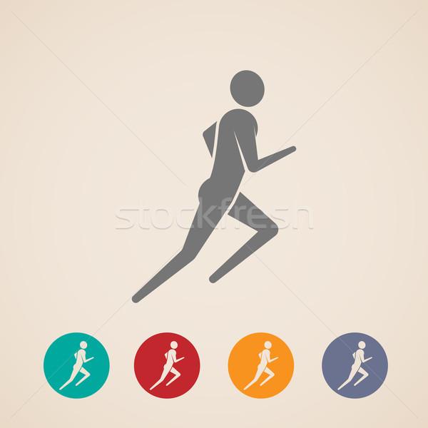 Stok fotoğraf: örnek · çalışma · jogging · adam · simgeler · uygunluk