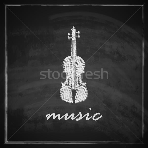 vintage illustration with the violin on blackboard background. music illustration  Stock photo © maximmmmum