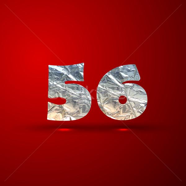 vector set of aluminum or silver foil numbers 5, 6 Stock photo © maximmmmum