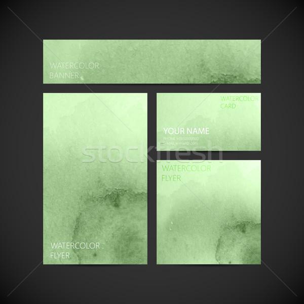 ストックフォト: セット · ベクトル · 企業 · アイデンティティ · 緑 · 塗料