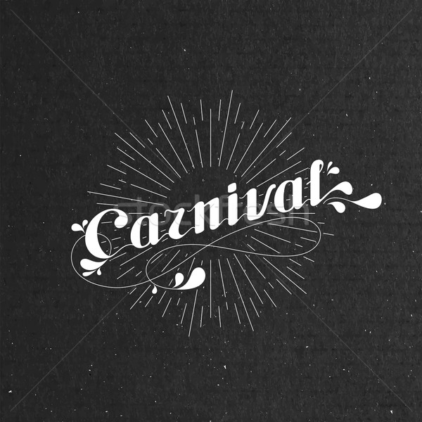 vector typographical illustration with ornate word carnival and light rays on the black cardboard te Stock photo © maximmmmum