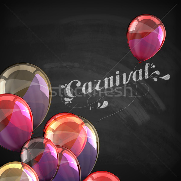 vector typographical illustration of ornate chalk word carnival on the blackboard texture with multi Stock photo © maximmmmum