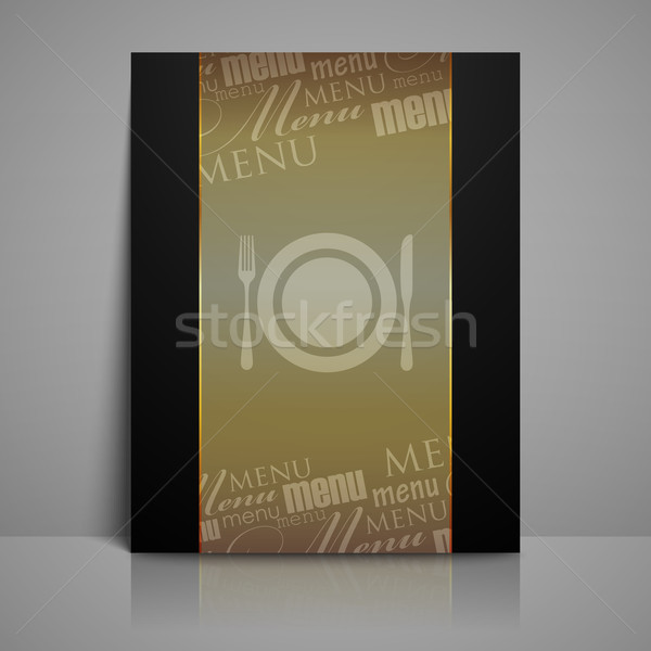 Stock photo: restaurant menu design with plate, fork and knife