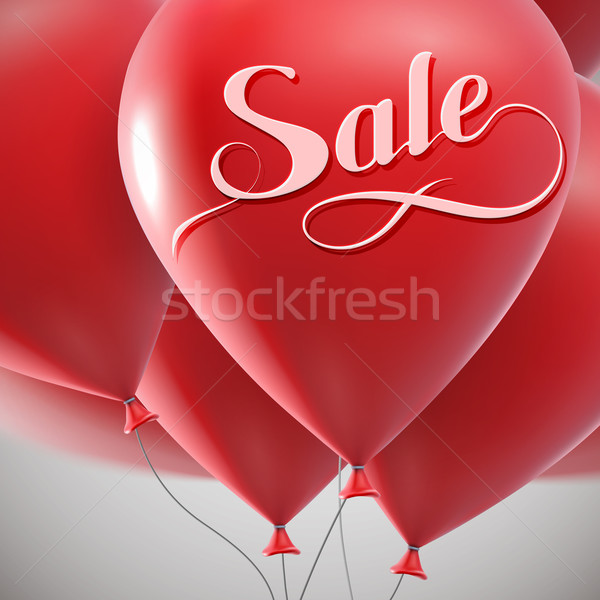 Sale label and flying balloon bunch. Stock photo © maximmmmum