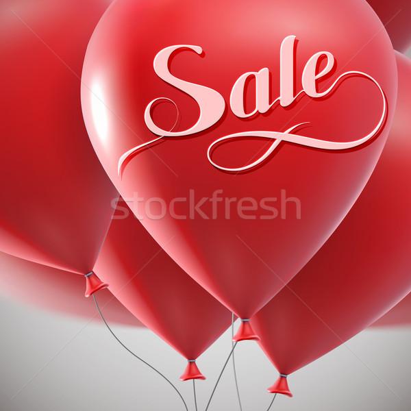 Verkoop label vliegen ballon bos vector Stockfoto © maximmmmum