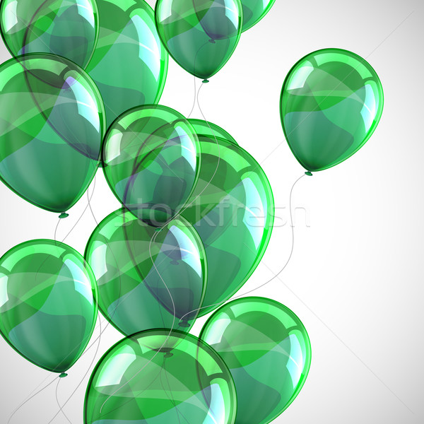 holiday background with flying green balloons  Stock photo © maximmmmum