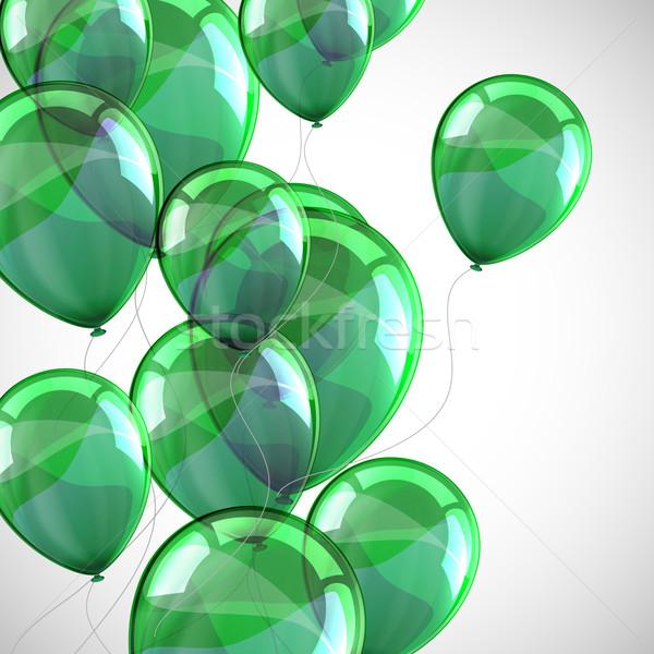 Vakantie vliegen groene ballonnen gelukkig ontwerp Stockfoto © maximmmmum
