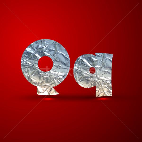 Wektora zestaw aluminium srebrny litery litera q Zdjęcia stock © maximmmmum