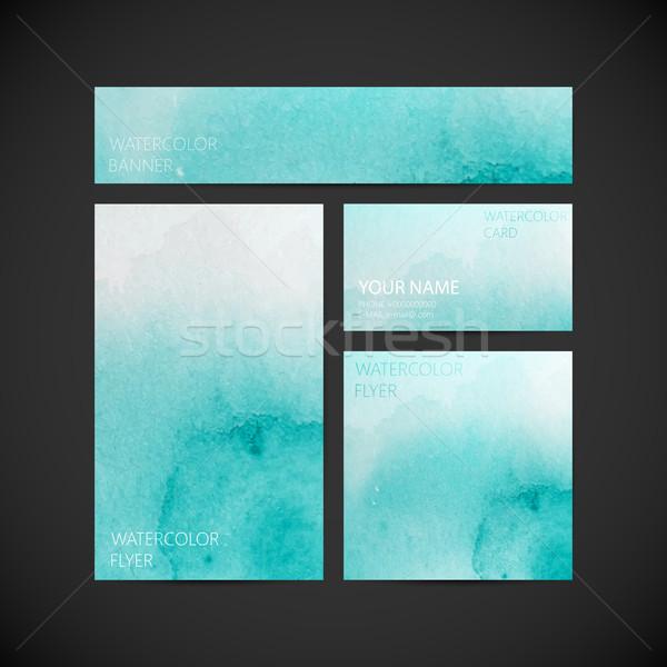 набор вектора корпоративного личности лазурный краской Сток-фото © maximmmmum