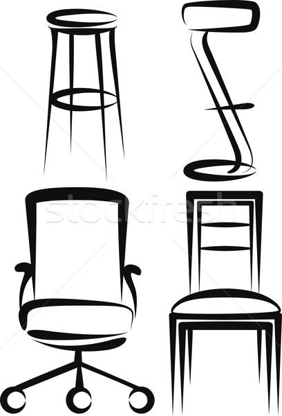 Szett székek illusztráció fa konyha rajz Stock fotó © maximmmmum