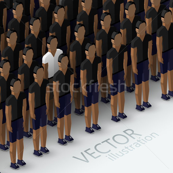vector isometric 3d  illustration of men's community with a large group of guys and men. crowd and u Stock photo © maximmmmum