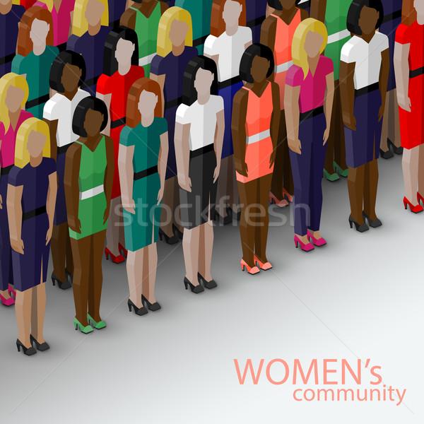 вектора 3D изометрический иллюстрация женщины сообщество Сток-фото © maximmmmum
