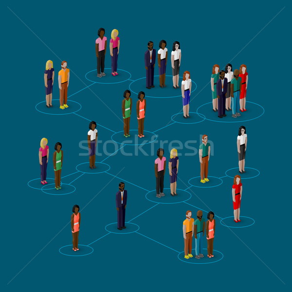 vector 3d isometric illustration of society members with  men and women. population. social network  Stock photo © maximmmmum