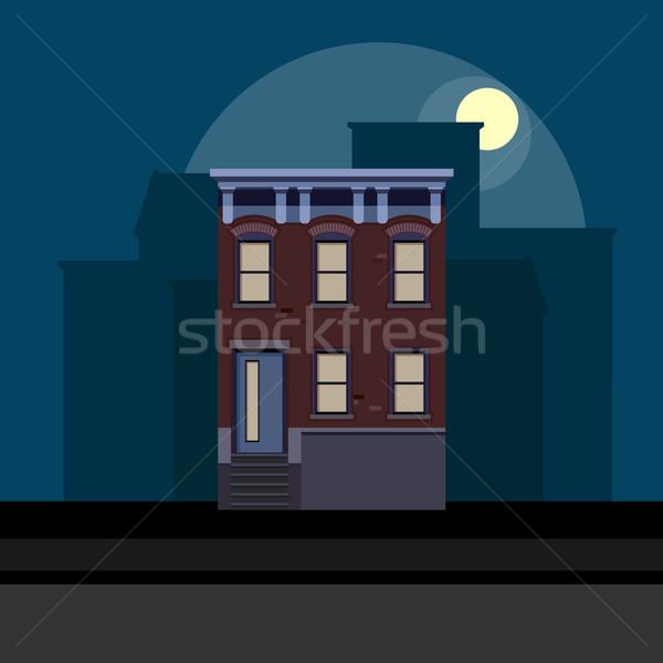 vector illustration of townhouse in flat polygonal style. night cityscape Stock photo © maximmmmum
