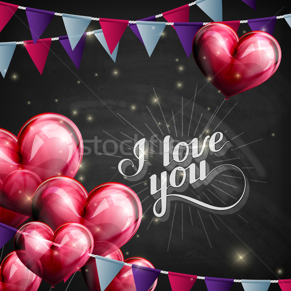 vector chalk typographic illustration of handwritten I love you retro label. lettering composition o Stock photo © maximmmmum