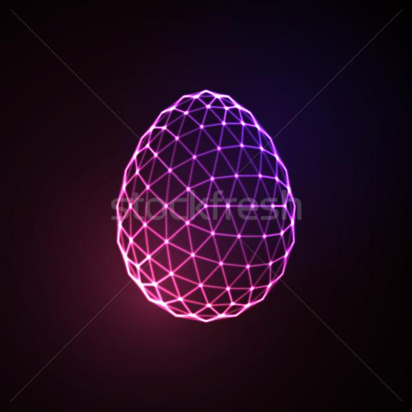 Neon Easter egg sign Stock photo © maximmmmum