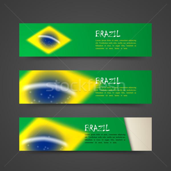 набор вектора Баннеры акварель эффект Бразилия Сток-фото © maximmmmum