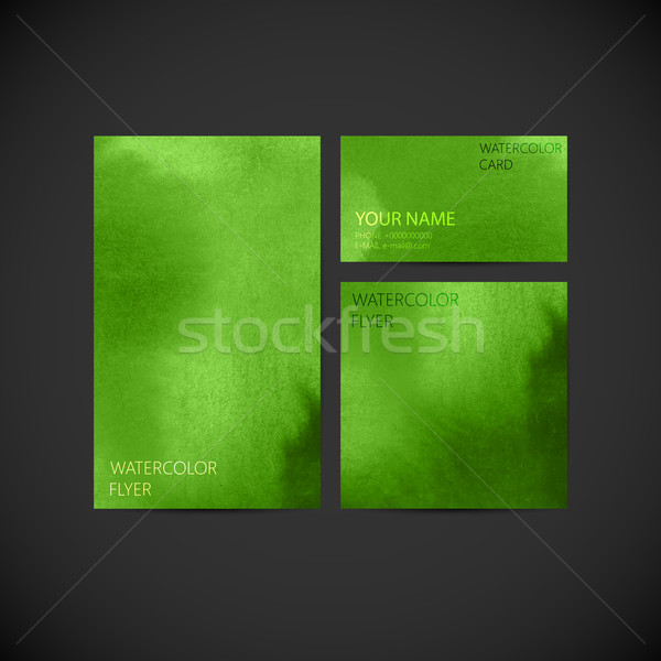 set of vector visual corporate identity with green paint waterco Stock photo © maximmmmum