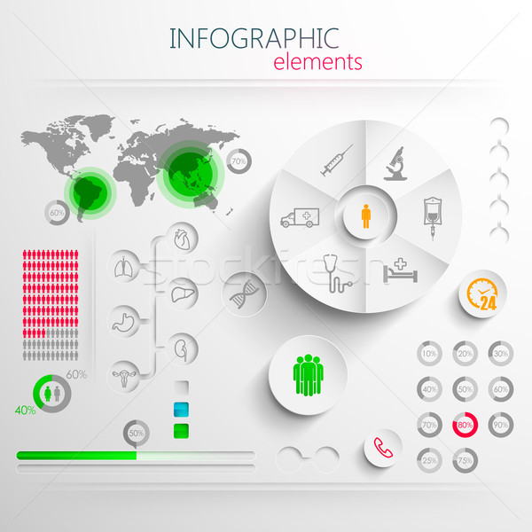 Stock photo: vector set of abstract 3d paper infographic elements with medical signs for print or web design