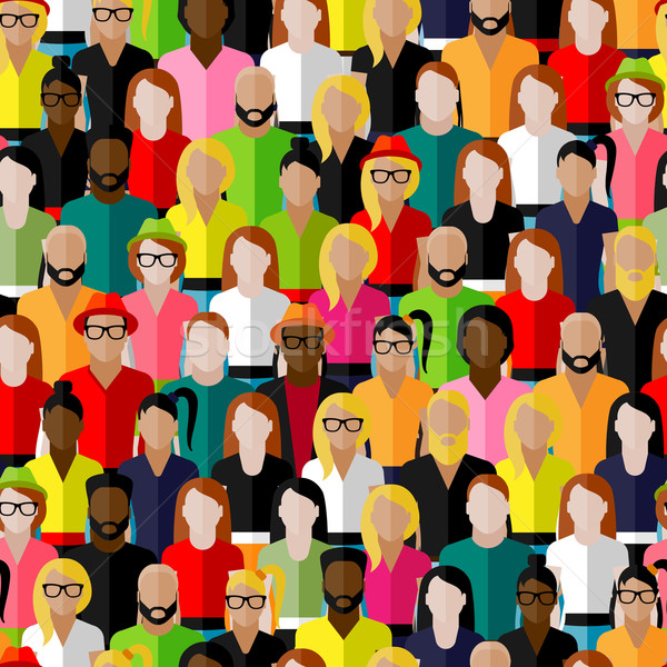 vector seamless pattern with a large group of men and women. flat  illustration of society members.  Stock photo © maximmmmum