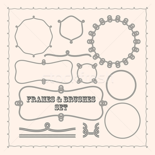 Set of vector frame templates and rope brushes. design element collection Stock photo © maximmmmum