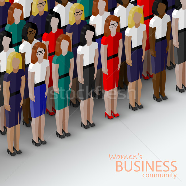 vector 3d isometric  illustration of women business community. a large group of women (business wome Stock photo © maximmmmum