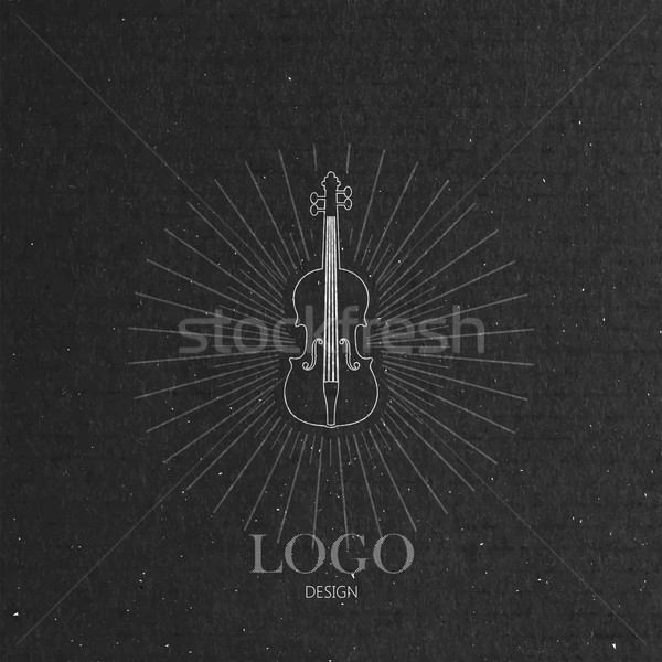 vector illustration with the violin on cardboard texture. music logo design  Stock photo © maximmmmum