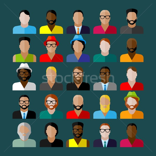 men appearance icons. people flat icons collection Stock photo © maximmmmum
