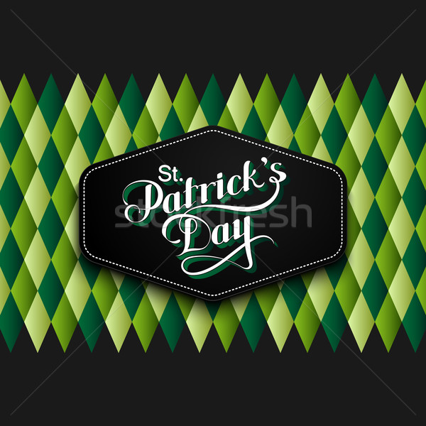 vector typographical illustration of handwritten Saint Patricks Day label on the multicolored geomet Stock photo © maximmmmum