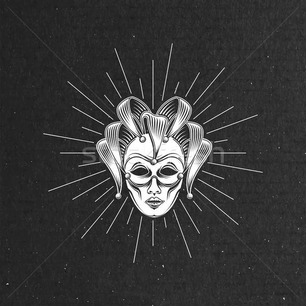 Ilustração veneziano carnaval máscara emblema Foto stock © maximmmmum