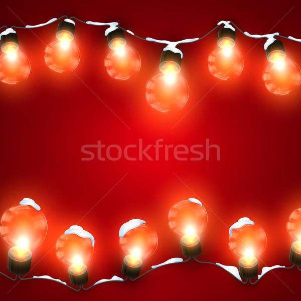 Elektromos girland izzó fények hó vektor Stock fotó © maximmmmum