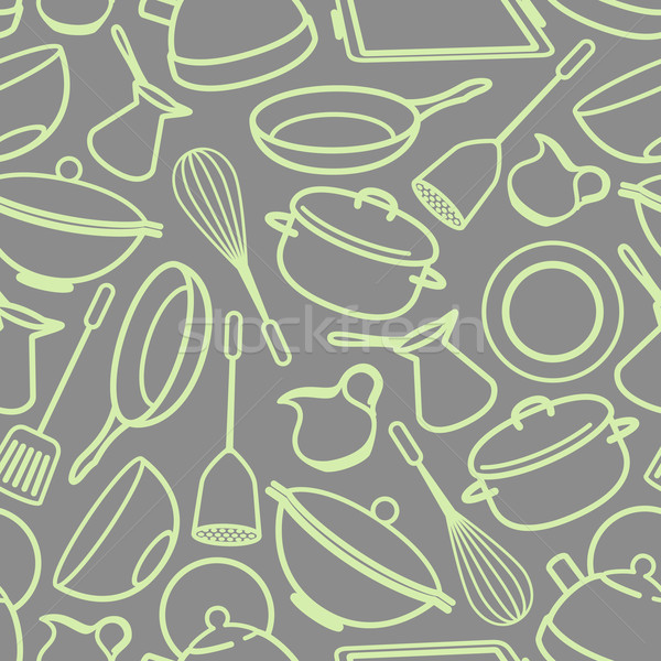 seamless background with kitchen utensil Stock photo © maximmmmum