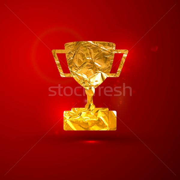 vector illustration of a golden metallic foil champions cup on t Stock photo © maximmmmum