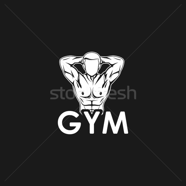 Vector illustration of muscled man body silhouette. fitness or  bodybuilding gym logo concept Stock photo © maximmmmum