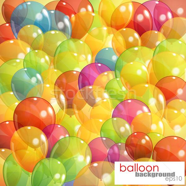 Veelkleurig transparant ballonnen gelukkig achtergrond groene Stockfoto © maximmmmum